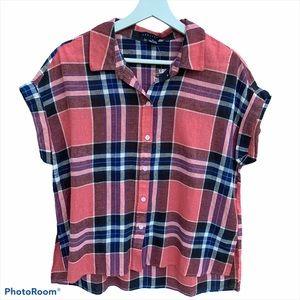 Sanctuary M madra plaid button down shirt linen